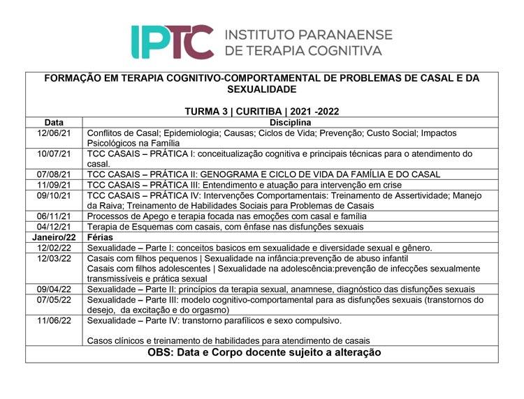 Cronograma TCC Casal e Sexualidade Turma 03 - IPTC