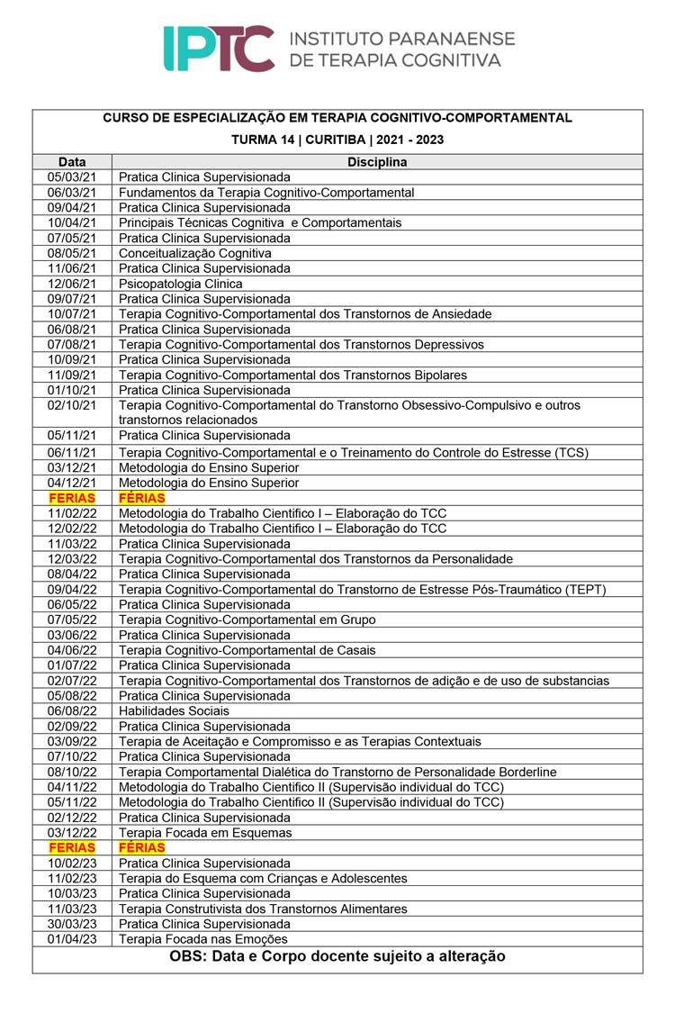 Cronograma TCC Turma 14 - IPTC